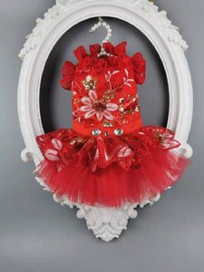 Free shipping handmade dog clothes dog dress red sequins embroidered flower pet wedding dress for cats poodle Yorkshire Maltese