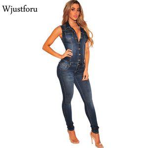 Wjustforu verano Patchwork Denim mono Sexy Bodycon sin mangas de cuerpo completo Feminino elegante botón mamelucos Womens Jumpsuits Y19060501