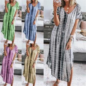 Tie Dye V Yaka Kadın Elbiseler Yaz Gevşek Bölünmüş Seksi Bayan Elbise Günlük Parti Kadın Elbise
