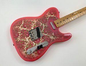 Benutzerdefinierte Shop James Burton Signature Tele Vintage Rosa Paisley E-Gitarre dunkel gelb Ahornhals-Griffbrett, schwarzer Punkt Inlay