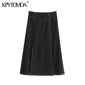 KPYTOMOA Women 2020 Chic Fashion Office Wear Front Slit Midi Skirt Vintage A Line Back Zipper Female Skirts Faldas Mujer