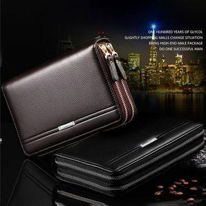 Leinasen Men Wallets With Coin Pocket Long Zipper Coin Purse For Men Clutch Business Male Wallet Double Zipper Vintage La