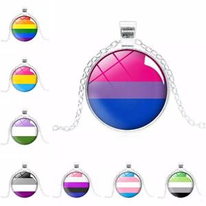 Novo sinal LGBT colares padrão arco-íris cabochão cadeias de Pingente De Vidro Para Gay Lésbicas Bissexuais Transgender Orgulho Presente Da Jóia Da Forma A Granel