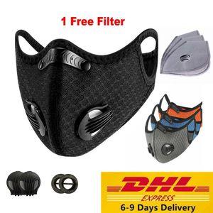 Filtreler ile ABD Stok Spor Bisiklet Yüz Maskesi PM2.5 Anti-Dust Karşıtı Kirlilik Maske Aktif Karbon Filtre Etkisi% 95 MTB Bisiklet Bisiklet Yüz