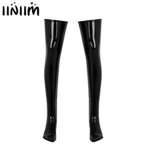 Medias para hombre de cuero atractivo Látex calcetín antideslizante suave wetlook PVC de alta del muslo de patas medias caliente del desgaste del club de la ropa interior exótica