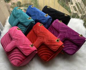 443497 Marmont Малого Шеврон Velvet Сумки женщин роскошь цепь Кроссбодите сумку сумка известного дизайнера кошелек женского сообщения 26см