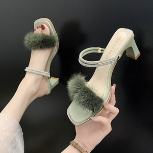 Novas Sandals chegada para o casamento mulheres partido damasco dedos apontados verdes Bombas fundos menina do vestido de borracha sapatos chunky calcanhar 35-39