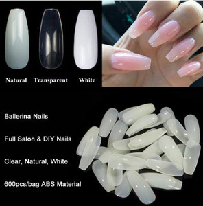 600pcs / Bag Ballerina Nail Art Tips Transparente / Natural Falso Coffin Nails Art Tips Forma plana Cubierta completa Manicure Fake Nail Tips