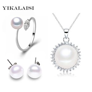 YIKALAISI 2017 Pearl Jewelry Sets Natural Freshwater Pearls Necklace Earrings 925 sterling Silver jewelry Pendant For Women Gift