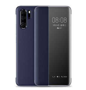 Couro Original inteligente capa para Huawei P40 Pro P30 P20 Nova T5 de luxo Clear Case Para Hauwei Companheiro 30Pro 30 20Pro 20 10Pro 10