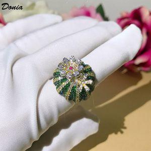 Дония ювелирные изделия роскошные кольца мода вращающийся кактус медный микроинтересный цвет циркона европейский и американский творческий дизайнер подарок