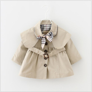 2019 New Baby Girls Tench Coats Spring Autumn Lapel Windbreaker With Bowtie Children Coats Kids Outwear Single-breasted Girl's Jacket