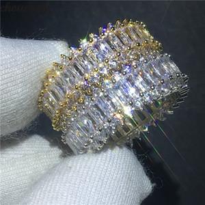 Vecalon Klasik Promise Ring Beyaz Altın Dolu Elmas cz Taş Nişan Düğün Band Yüzükler Kadın Erkek Parti Takı Hediye