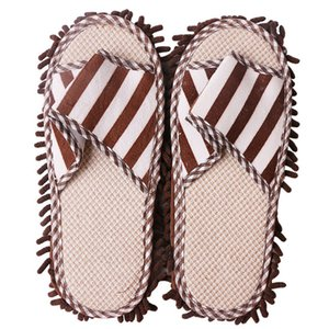 Unisex Cleaning Chenille Quick Lazy Striped Foot Shoes Washable Polishing Dusting Coral Fleece Floor Mop Slippers Home
