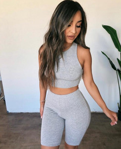 Suits Summer European and American fashion leisure sports suit cotton woven solid color slim exposed navel short suit