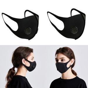 Lavable réutilisable avec masque Coussin simple Valve respirant polyester éponge air purifiant bouche Masque Masque Double Valve Mouthgb