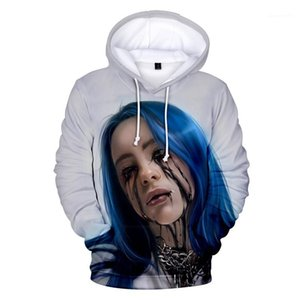Mens Clothing Billie Eilish 3D Impresso Hoodies Fashion Designer Cantor com capuz Tops solto pulôver