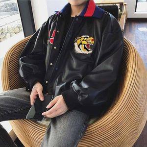 Frauen-Männer Lederjacke koreanischer stattliche Motorrad-Lederjacke PU-Leder Tigerkopf bestickte Jacke Trend