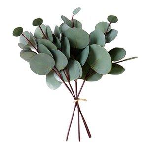 4/8 / 10pcsArtificial Eucalyptus Feuille PVC Floral Tige Faux Verdure Feuille Eucalyptus pour mariage Party Decoration Accueil Artisanat Usine