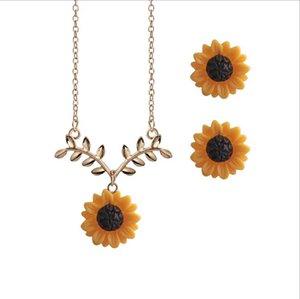 blingbling cadena de la hoja de girasol flor colgante collar de clavícula del pendiente de la nueva ramificación de tres piezas individuales Paquete con EUB