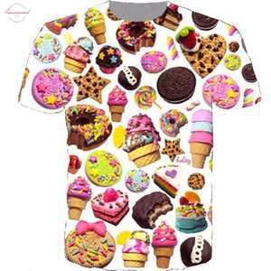 New Summer Style Harajuku Short Sleeve Women Men 3D T Shirt Donut Ice Print Fashion T Shirt Plus Size Drop Shipping