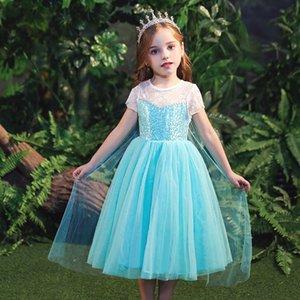 Noel Partisi Kostüm Cosplay T200417 Yaz Bebek Kız Anna Elsa Elbise Pullarda Dantel Çiçek Prenses Fantasia Çocuk Giyim