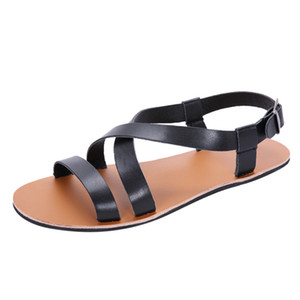 SAGACE Fashion men's summer wild Rome flat non-slip men's sandals casual buckle sandals high quality new listing 2019
