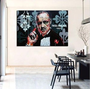 Yüksek Kaliteli Handpainted HD Baskı Karikatür Graffiti Pop Art yağlıboya Godfather, Ev Dekor Duvar Sanatı Tuval Üzerine Çok Boyutları g121