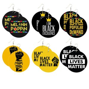 DHL shipping Women Black Lives Matter Earrings Saying Trendy Natural Wood Drop Earring Jewelry Melanin Poppin Afro Power Fist Pattern L346FA