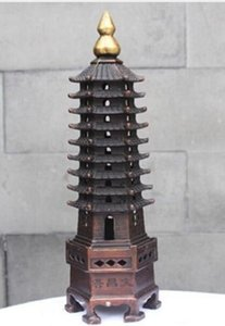 NEW ++ + 중국 붉은 구리 청동 Wenchang 타워 Stupa 파고다 홈 풍수 장식 동상
