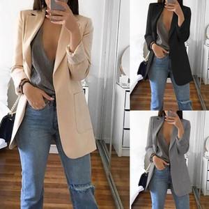 Manera de la vendimia de las mujeres de manga larga OL delgado de la chaqueta ocasional de la capa Outwear la chaqueta del juego