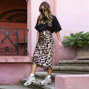 Impresión de seda del leopardo mujeres de la falda de la gasa de una línea de cintura alta falda de Midi Casual Beach Party bodycon Wrap atractivo de las mujeres Faldas FS5264