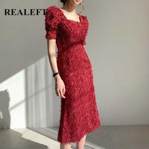 REALEFT 2020 New Summer Square Collar Tassel Women Sheath Dress Vintage Short Sleeve Backless Party Wrap Dresses Vestidos femme