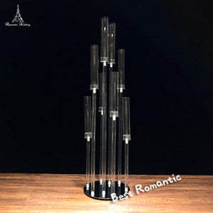 6PCS / LOT الاكريليك شمعة حامل مع أغطية زجاجية للحدث الزفاف الديكور الحديثة ديكور الزهور ترتيب الجدول محور