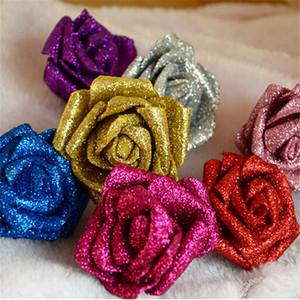 Umweltfreundliche Glitter Schaum PE Künstliche Blumen Rose Kopf Real Touch Wunderschöne Shiny Home Hochzeit Dekorative Blumen 100 Teile / los