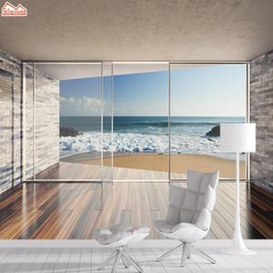 Landscape Recados Papers Home Decor Paper 3D Photo Mural Wallpaper Wallpapers para Sala contato com o escritório Sea View Murais