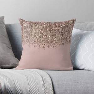 Blush Pink Rose Gold Bronze Cascading Glitter Pillow Covers Cases Pattern Nordic Cover Cushion Pillowcase Square Print Pillow Case