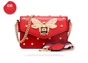 Bolsas Designer Shoulder Bag Mulheres de luxo Designer New Primavera-Verão mais novo pérolas Cadeia Bee quadrado pequeno saco Tide Bag Estrela Mini Hot mulheres