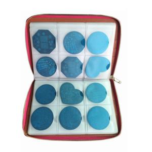 Nail Art 240 Slots Nail Stamp Plate Carpeta de cuero / Soportes / Estuches Nail Template Album Round Plate Bolsa Colección Stamp Stamper
