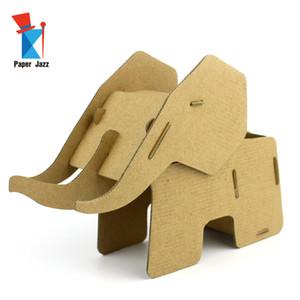 DIY 3D Karton Fil Kalem Tutucu Karton oyuncaklar çocuklar için eğitim bulmaca oyuncaklar hayvan dekorasyon modeli