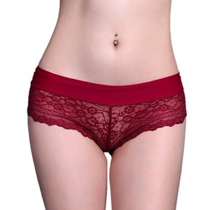 1PC Sexy Lace Transparent Thong Panties Low Waist Cotton Briefs Underwear Women Breathable G-String