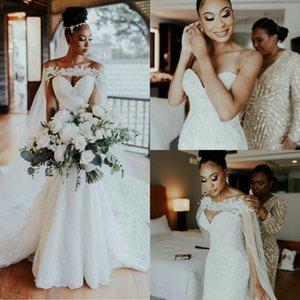 A Line Wedding Dresses Sweetheart Lace Applique Wedding Dress with Lace Watteau Sweep Length Custom Made Robes De Mariée