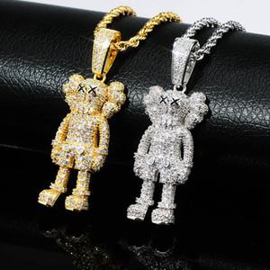 Hip Hop buzlu Out Karikatür Doll kolye kolye Altın Gümüş Kaplama Mens Bling Bling Takı Hediye