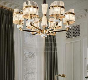 LED Crystal chandelier Nordic Zinc alloy pendant lamps French  jade hanging lights living room fixtures bedroom lighting MYY