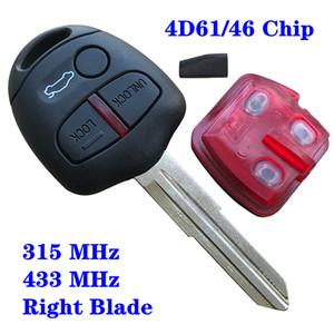 Nouvelle télécommande de la clé 3 boutons Fob 315 / 433Mhz pour MITSUBISHI Lancer EX Keyless Entry Fob Alarme de voiture Couvercle du logement rainure de la lame droite
