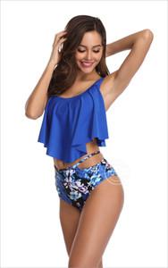 2019 Mujeres Nuevo Impreso Lotus Leaf Edge Bikini de cintura alta Traje de baño streetwear para mujer, elegante y elegante, señoras chica Entrenadores