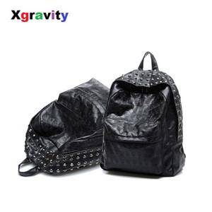 Xgravity Moda Rahat Lady Açık Perçinler Sırt Çantaları Zarif Işık Naylon Kadınlar Boş Çanta Kafatası Öğrenci Su Geçirmez Çanta H053