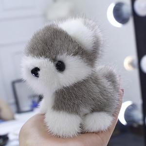 Настоящая Натуральная Меховая Собака Щенок Игрушка Помпон Мяч Сумка Шарм Брелок Кулон Детская Игрушка Подарок