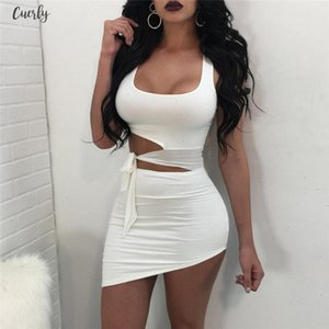 Fashion New Sexy Women Bandage Dress Hollow Out Twill Sexy Ladies Evening Party Dress Sleeveless Club Wear Mini Dress Designer Clothes