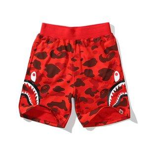 Los nuevos Mens Hip Hop Un Baño AAPE Ape Japón 19Bape tiburón mandíbula Pantalones cortos de camuflaje de impresión en color de los pantalones de la cadera de los hombres de moda los pantalones hop